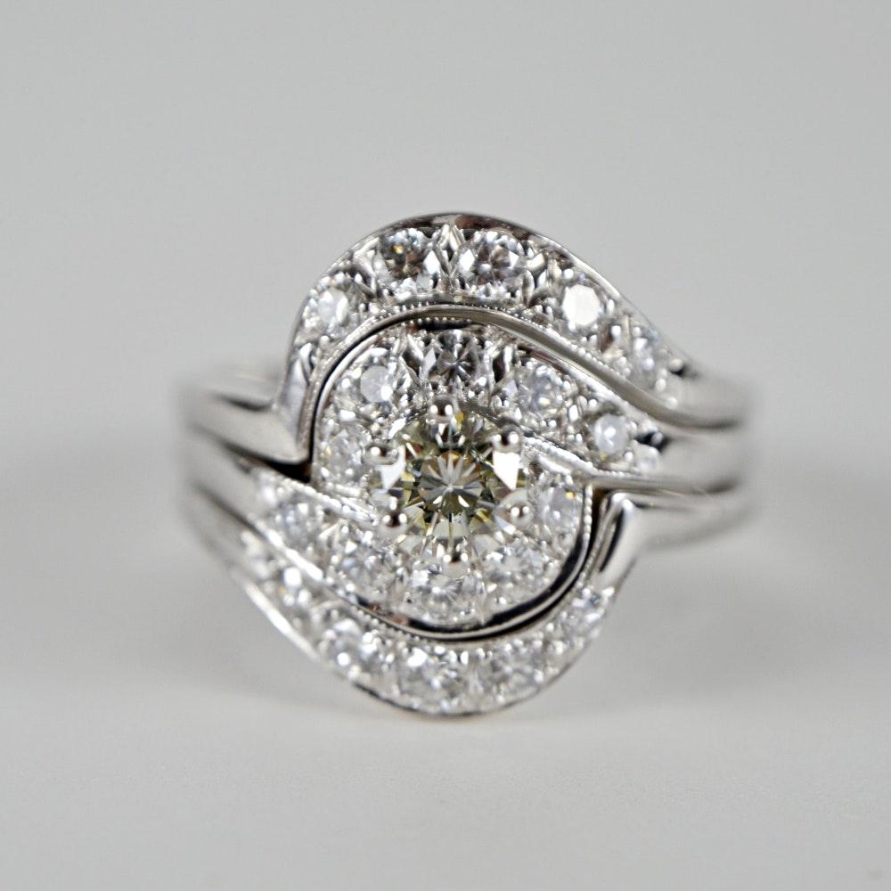 14K White Gold Diamond Wedding Ring Set