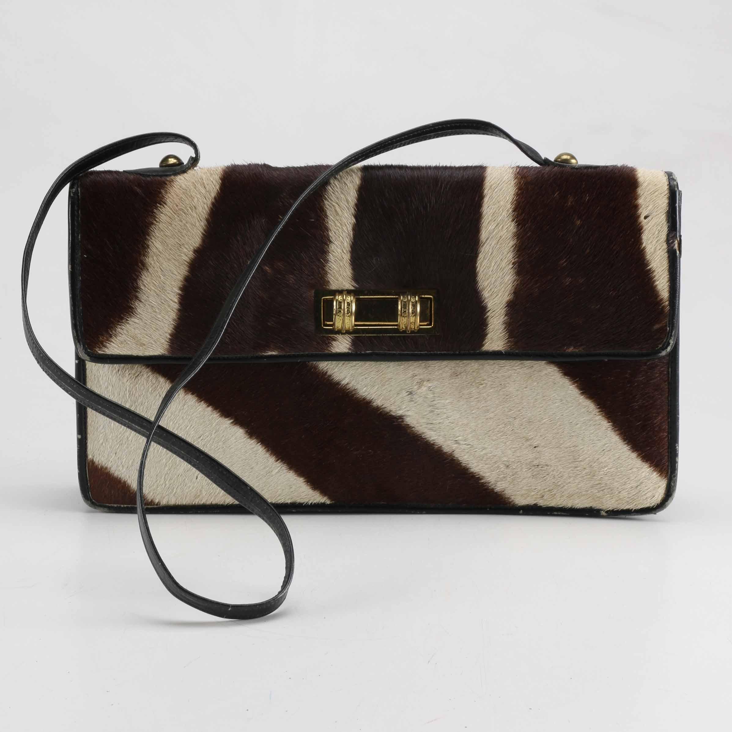 1950s Zebra Hide Handbag