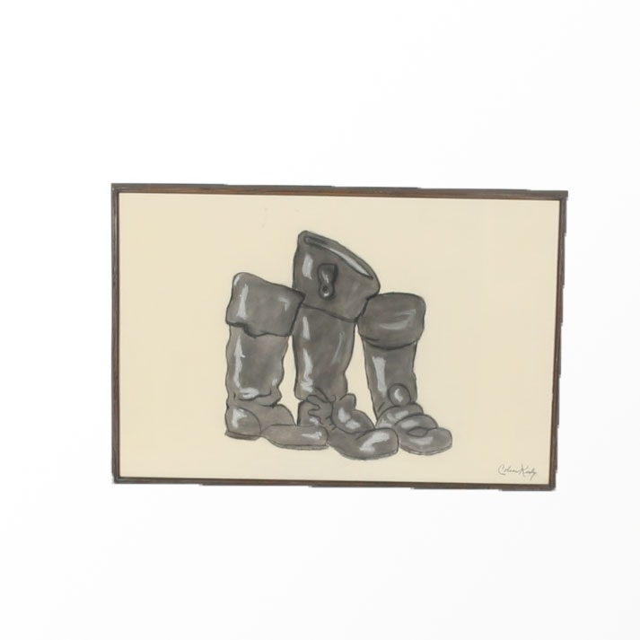Signed, Original Coleen Kirby Pastel Drawing of Boots