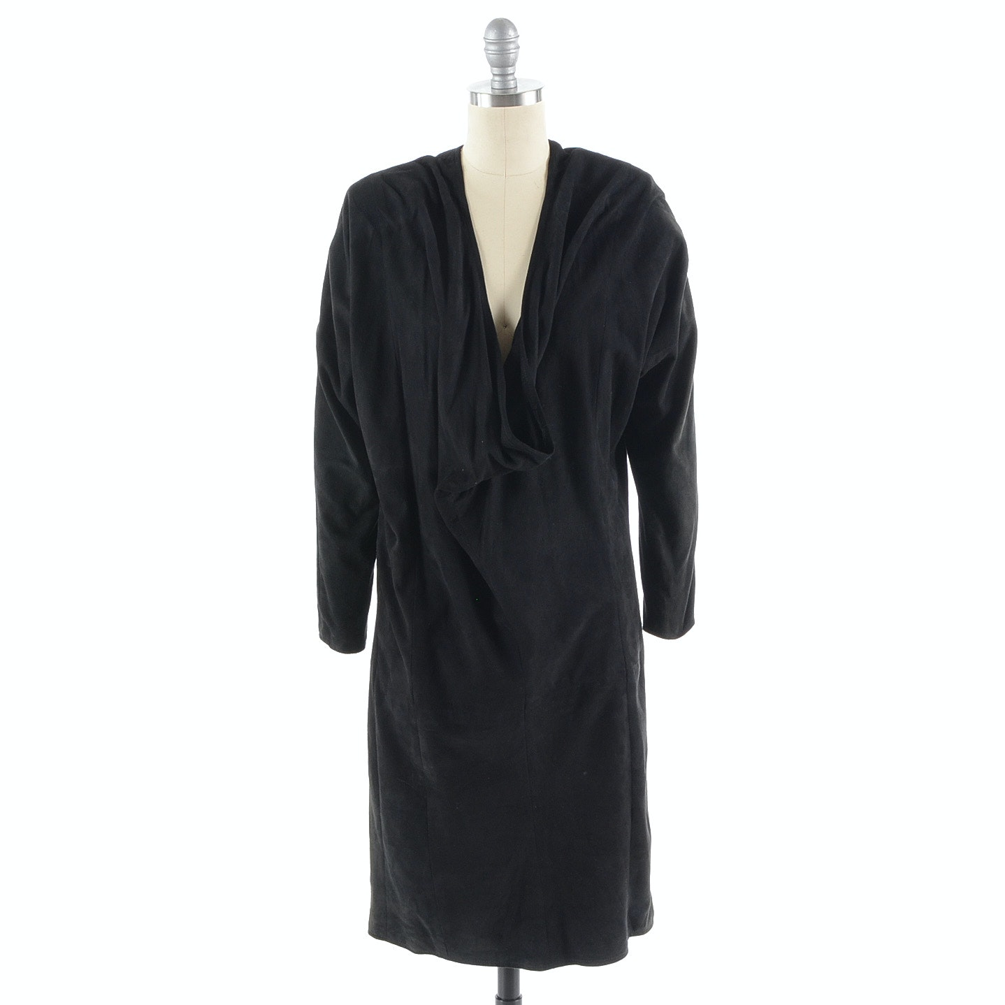 1980s Maxima Black Suede Cocktail Dress with Plunging Neckline