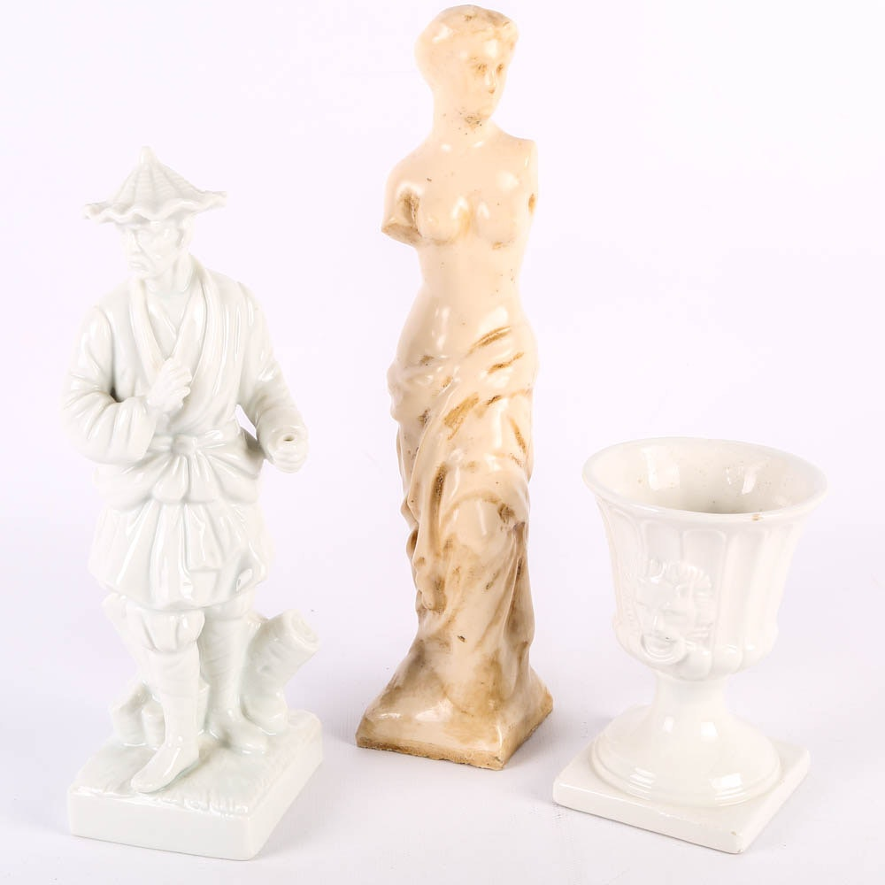 White Ceramic Figurines including Fitz and Floyd