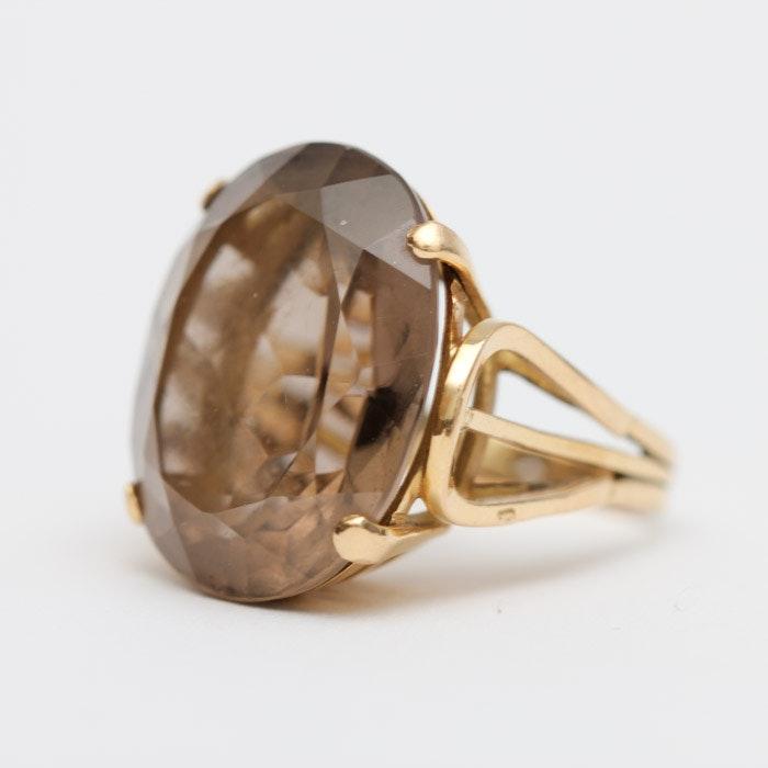 18K Gold Smoky Quartz Ring