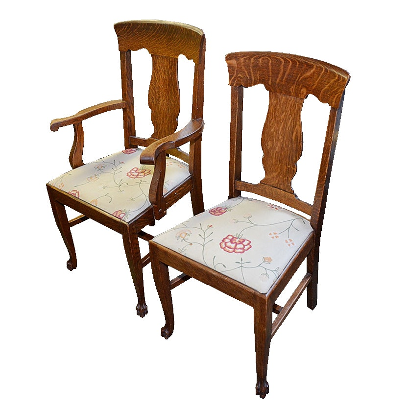 Vintage Tiger Oak Arm Chair and Side Chair