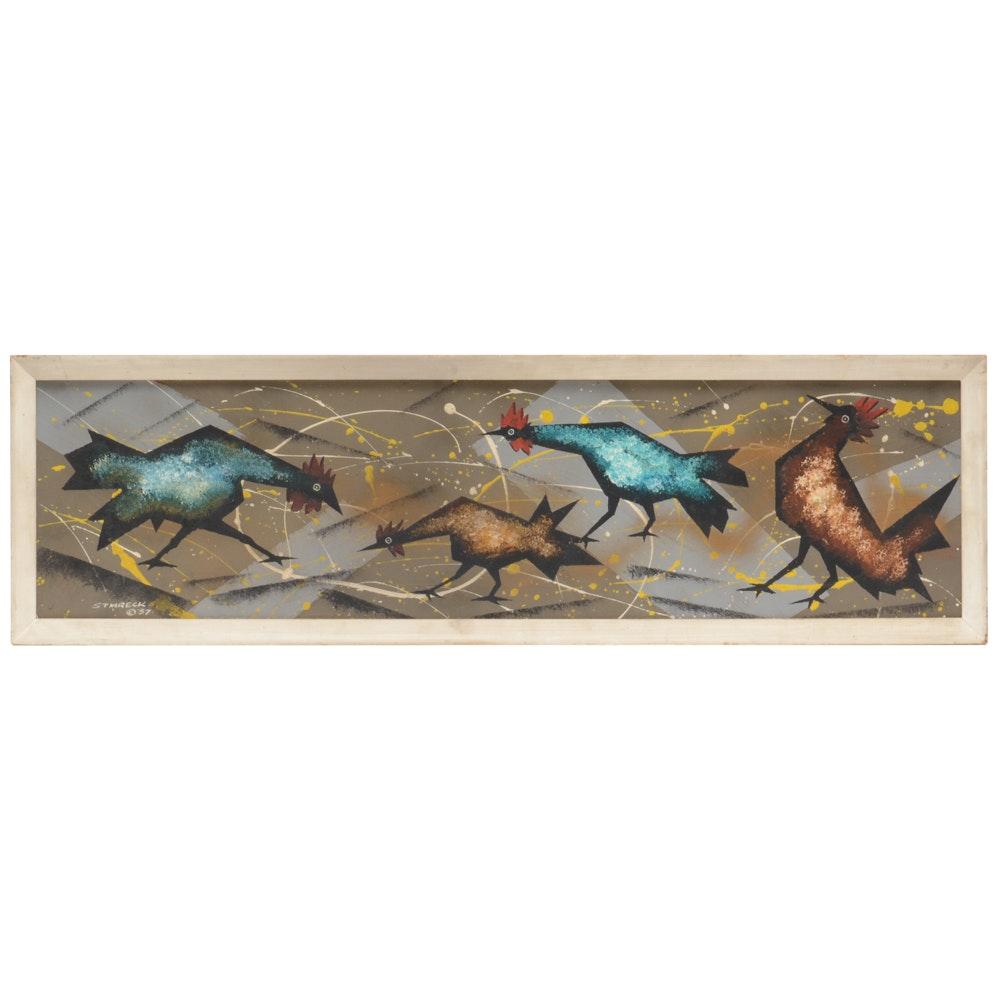Edgar A. Stareck Mid Century Modern Chicken Painting