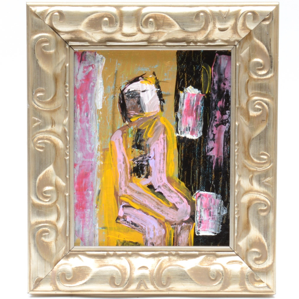 "Original Ron Padgett Acrylic on Canvas ""The Pondering Maria"""