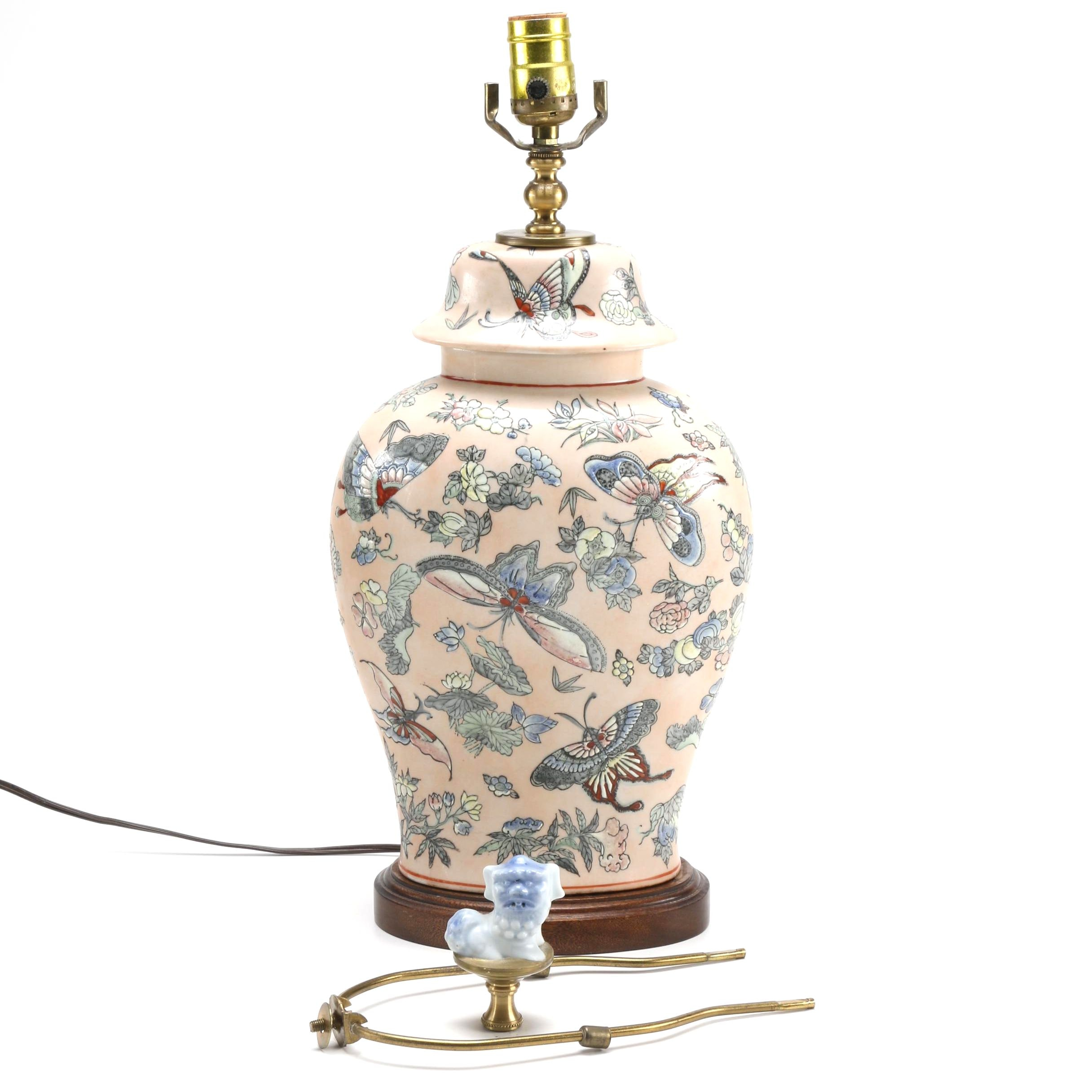 Chinese Ceramic Lamp With Guardian Lion Finial