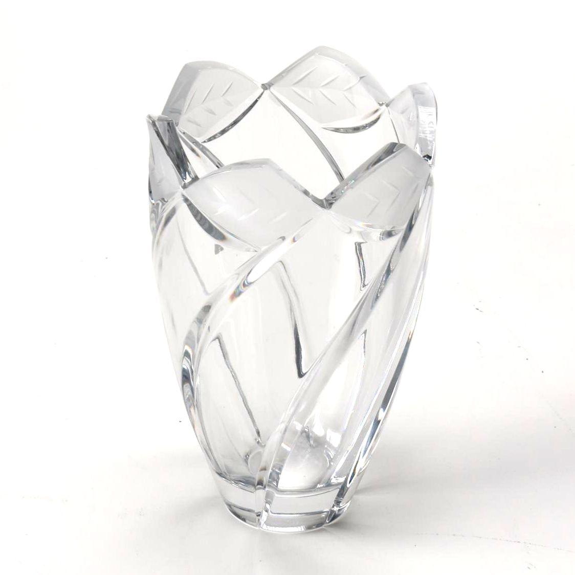 Crystal Vase with Leaf Motif