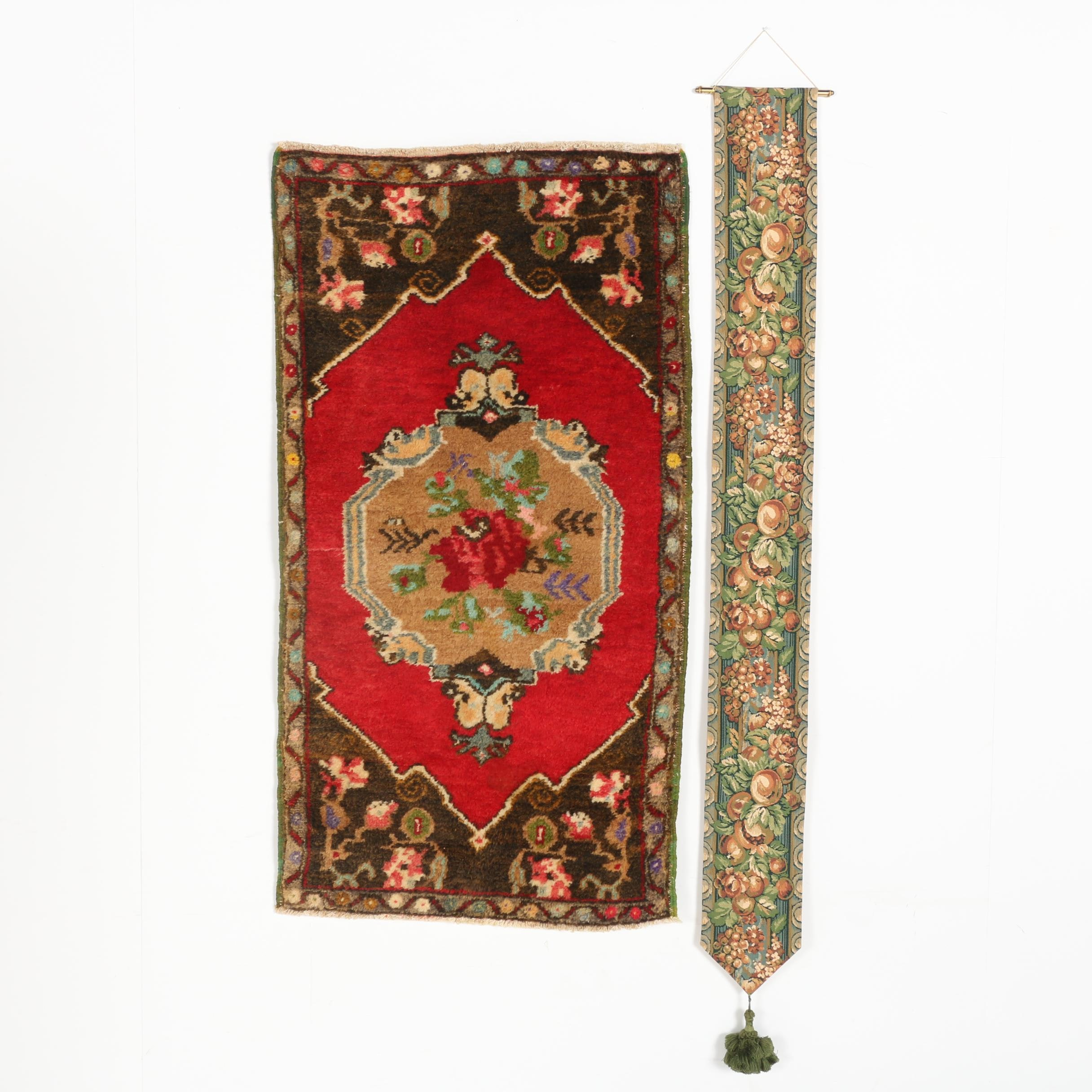 Hand-Knotted Persian Style Accent Rug and Tapestry