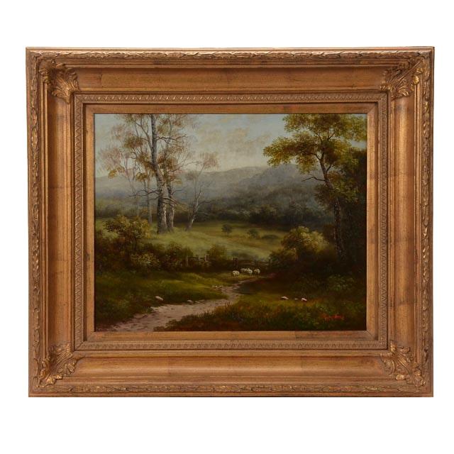 Humphrey Pastoral Oil on Canvas Landscape Painting