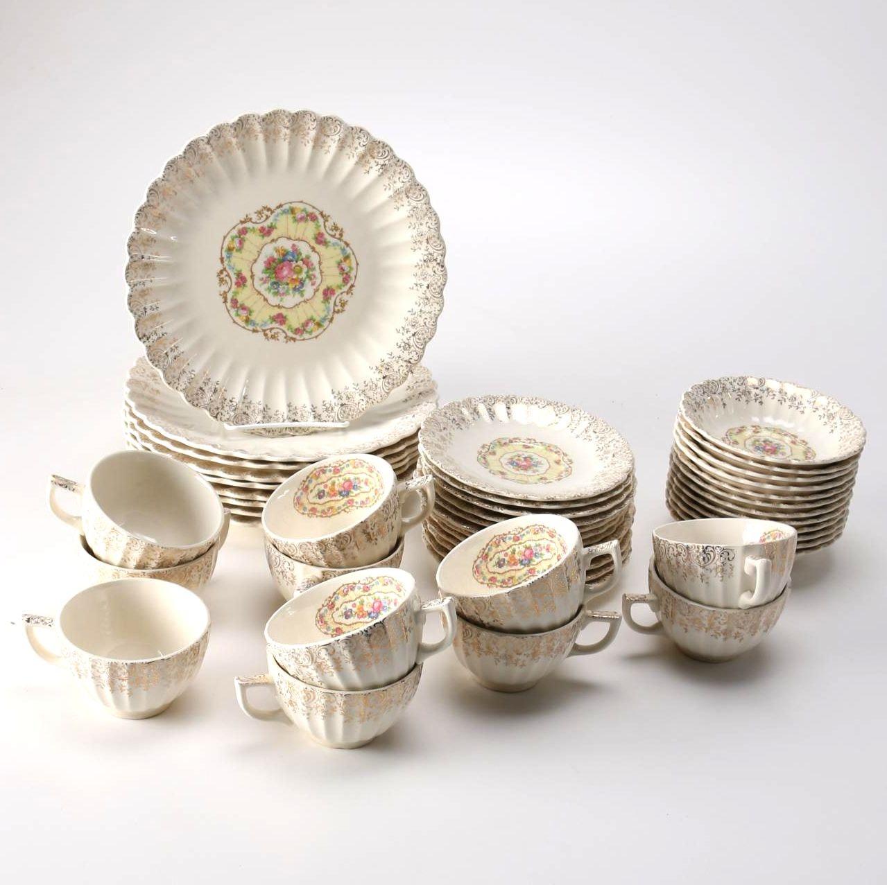 "Set of American Limoges 22K Gold ""Toledo Delight"" Tableware"