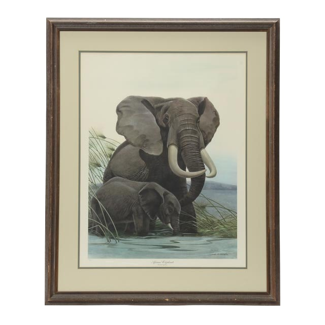 "John Ruthven Signed Limited Edition Offset Lithograph ""African Elephants"""