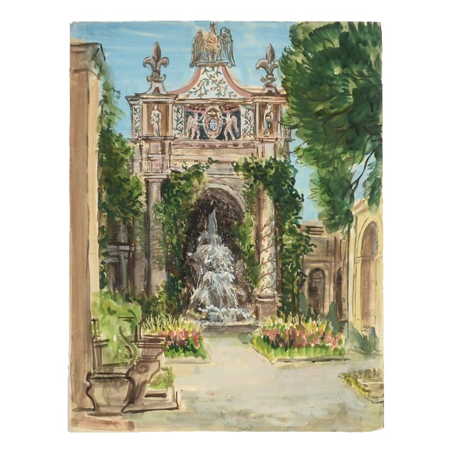 W. Riggs Original Gouache & Watercolor Architectural Painting