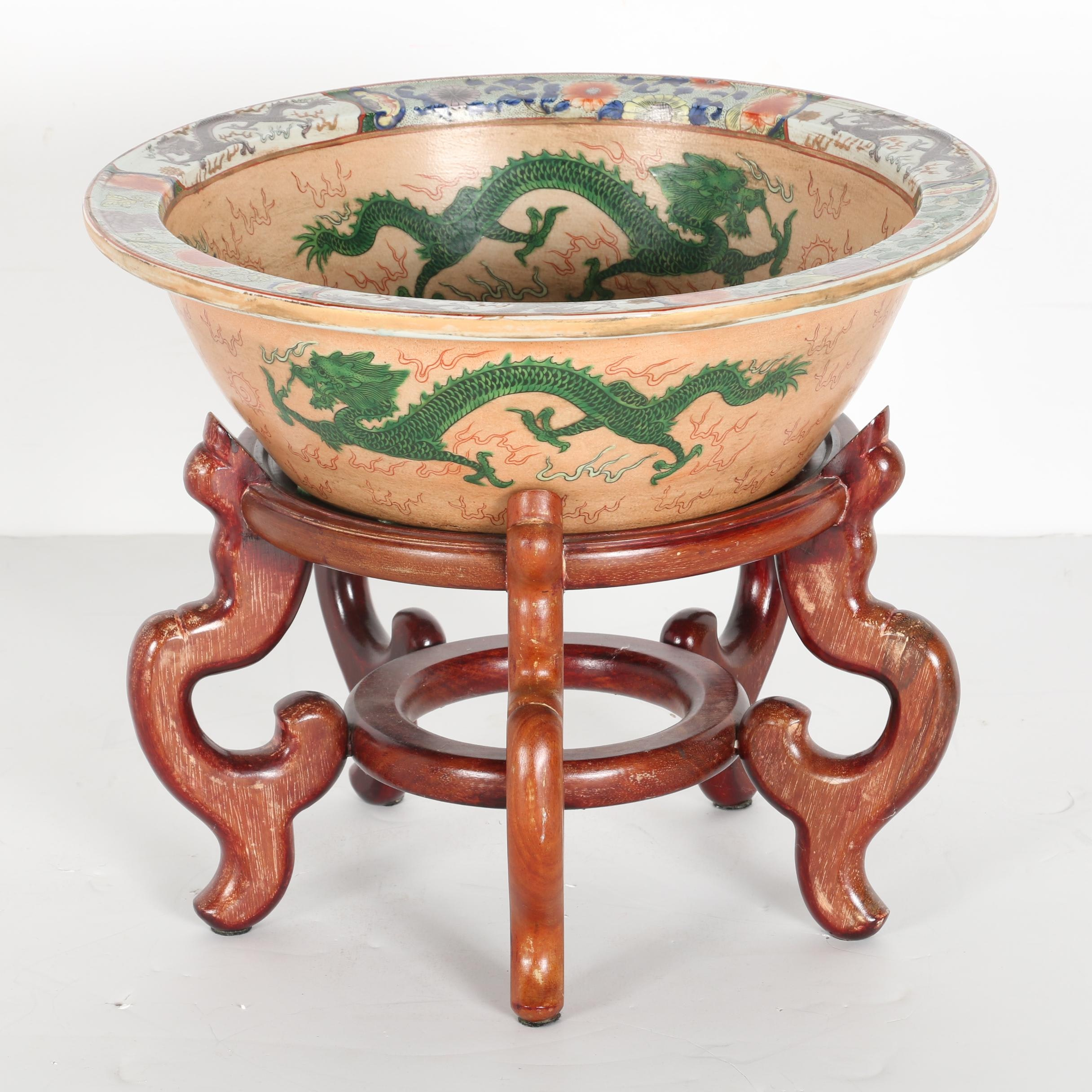 Large Vintage Chinese Bowl With Wooden Stand