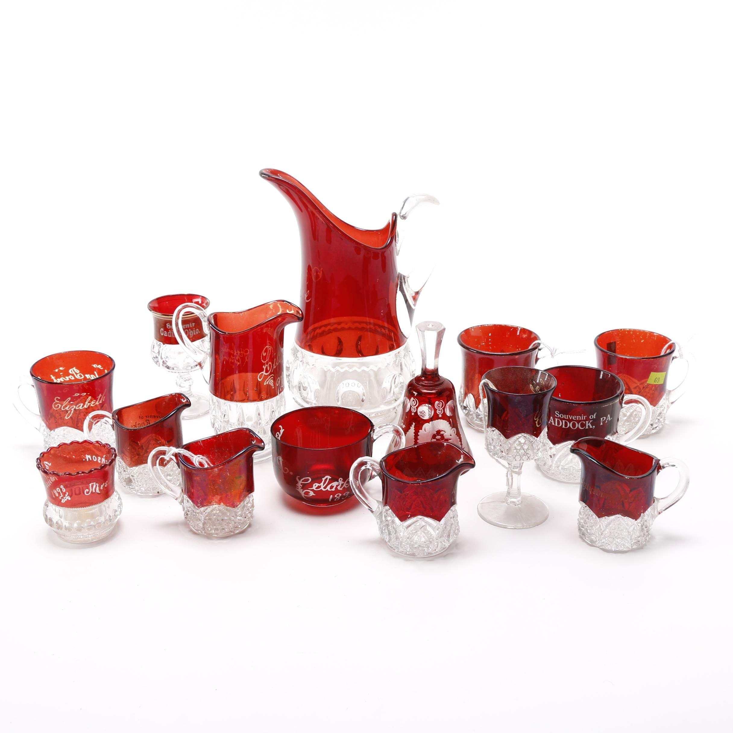 Red Art Glass Drinkware