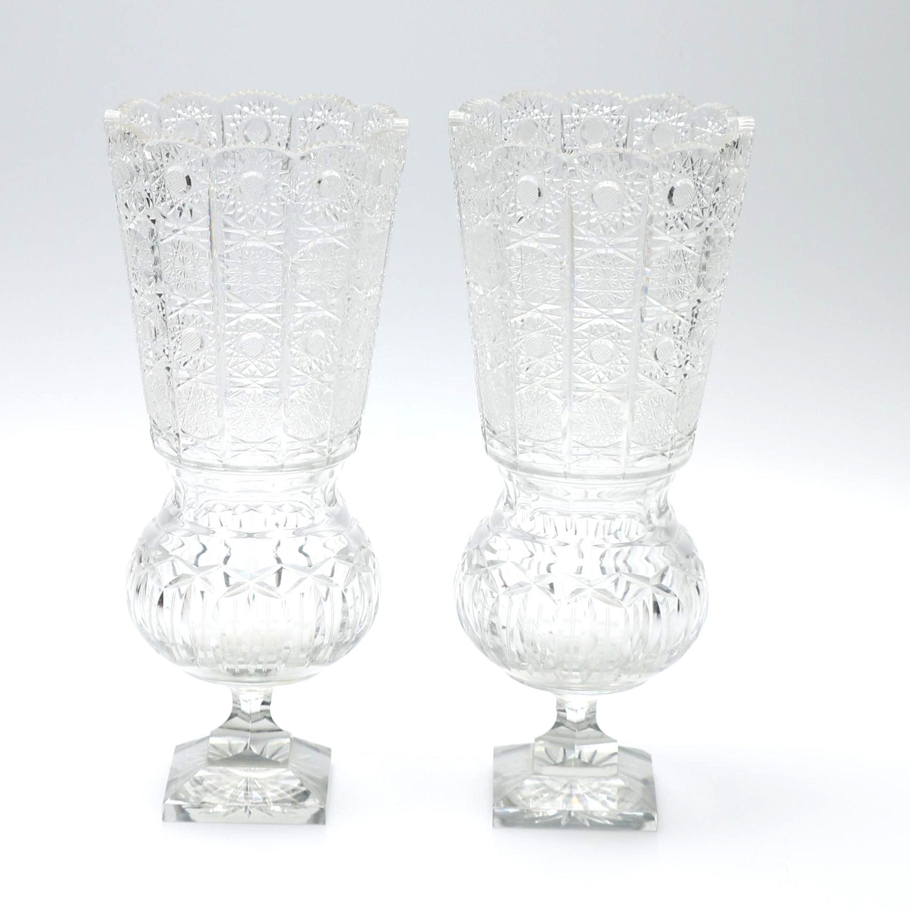 Pair of Large Crystal Vases