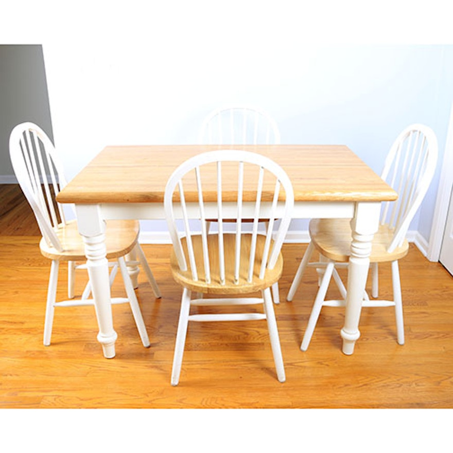 White Butcher Block Kitchen Table : Butcher Block Kitchen Table With Four Chairs EBTH