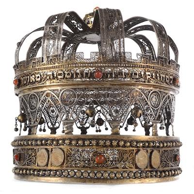 Excellent Bezalel School Sterling Silver Torah Crown