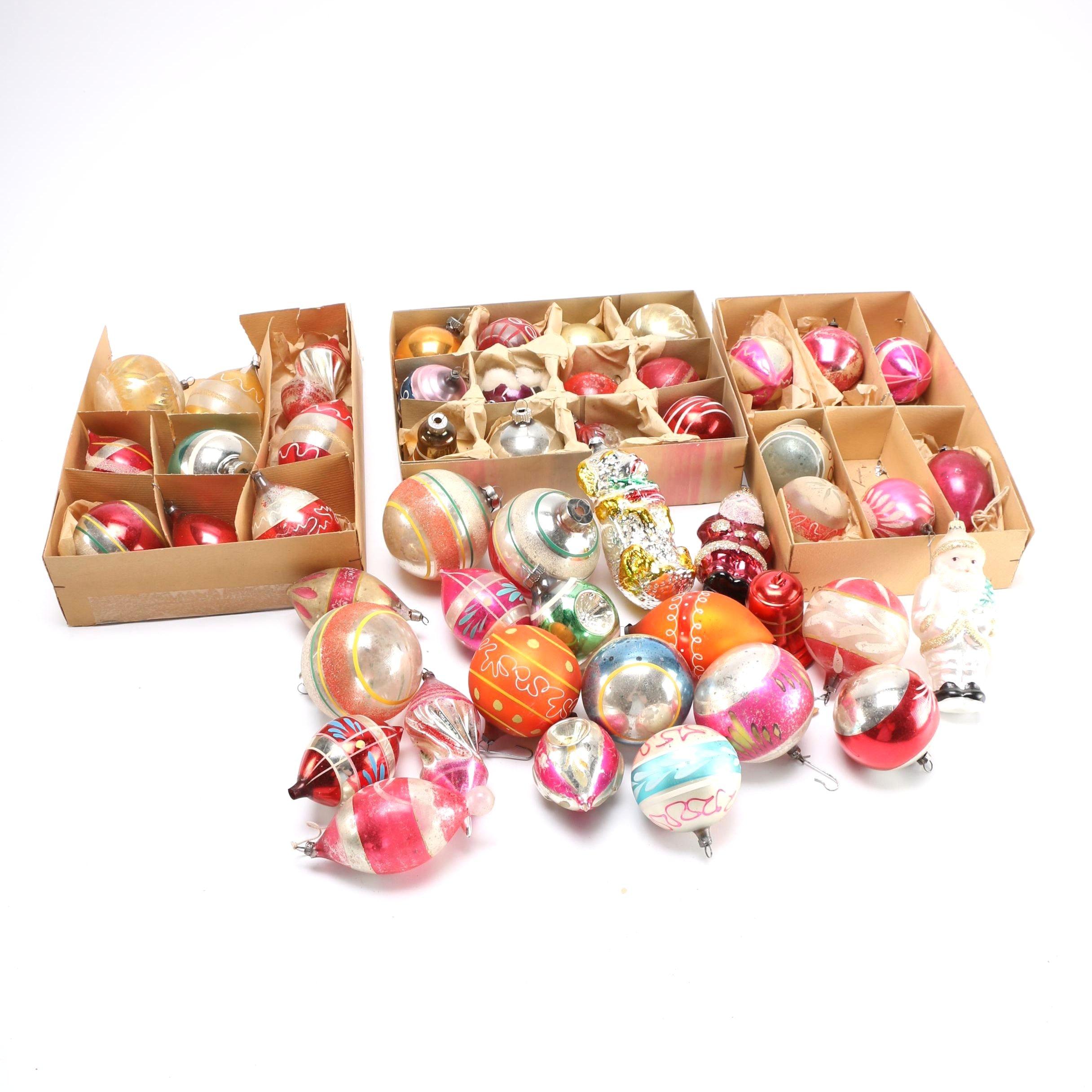 Vintage Glass and Plastic Christmas Tree Ornaments