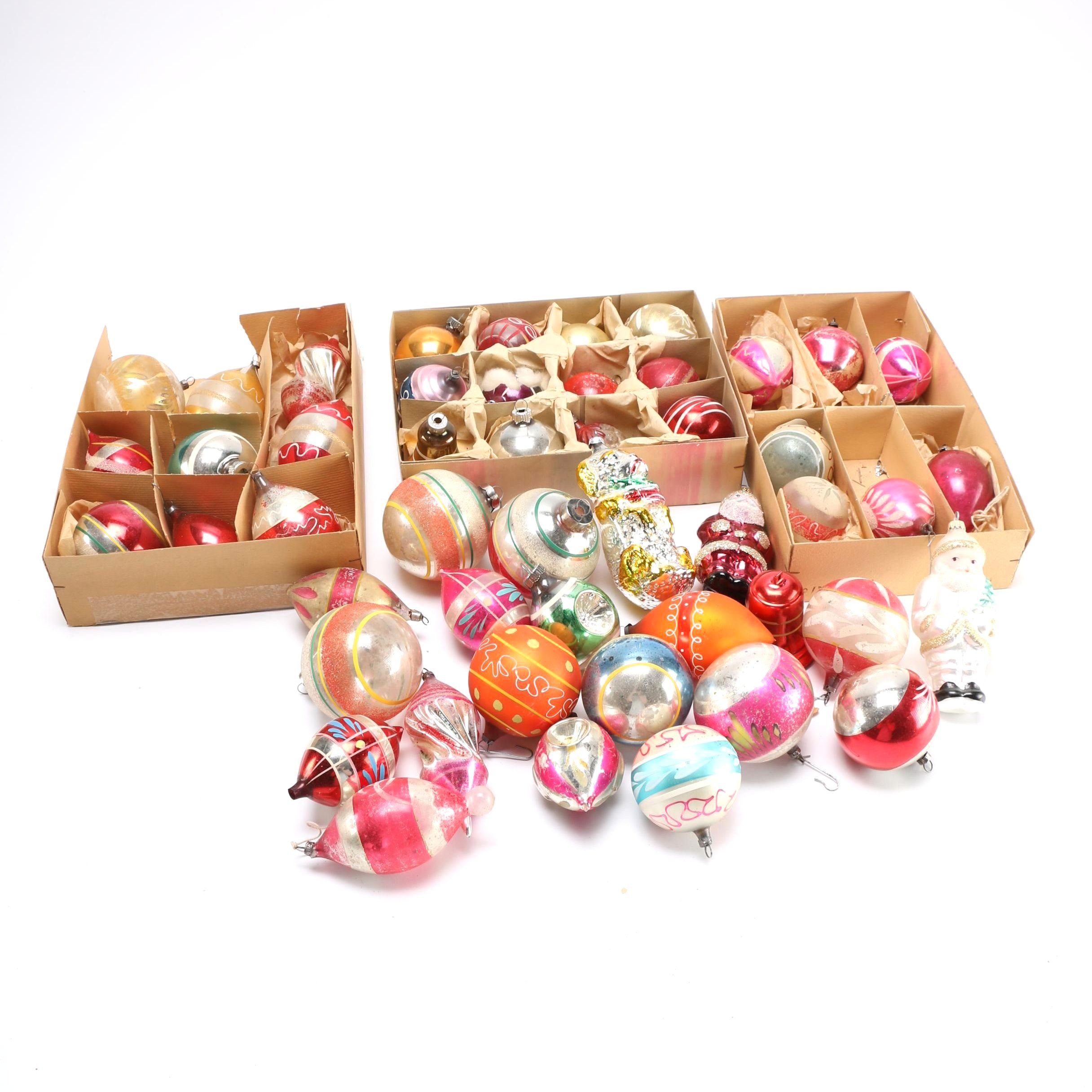 Vintage Glass and Plastic Christmas Tree Ornaments