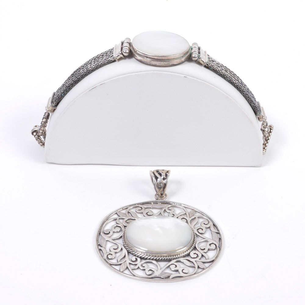 Sterling Silver Mother of Pearl Bracelet and Pendant