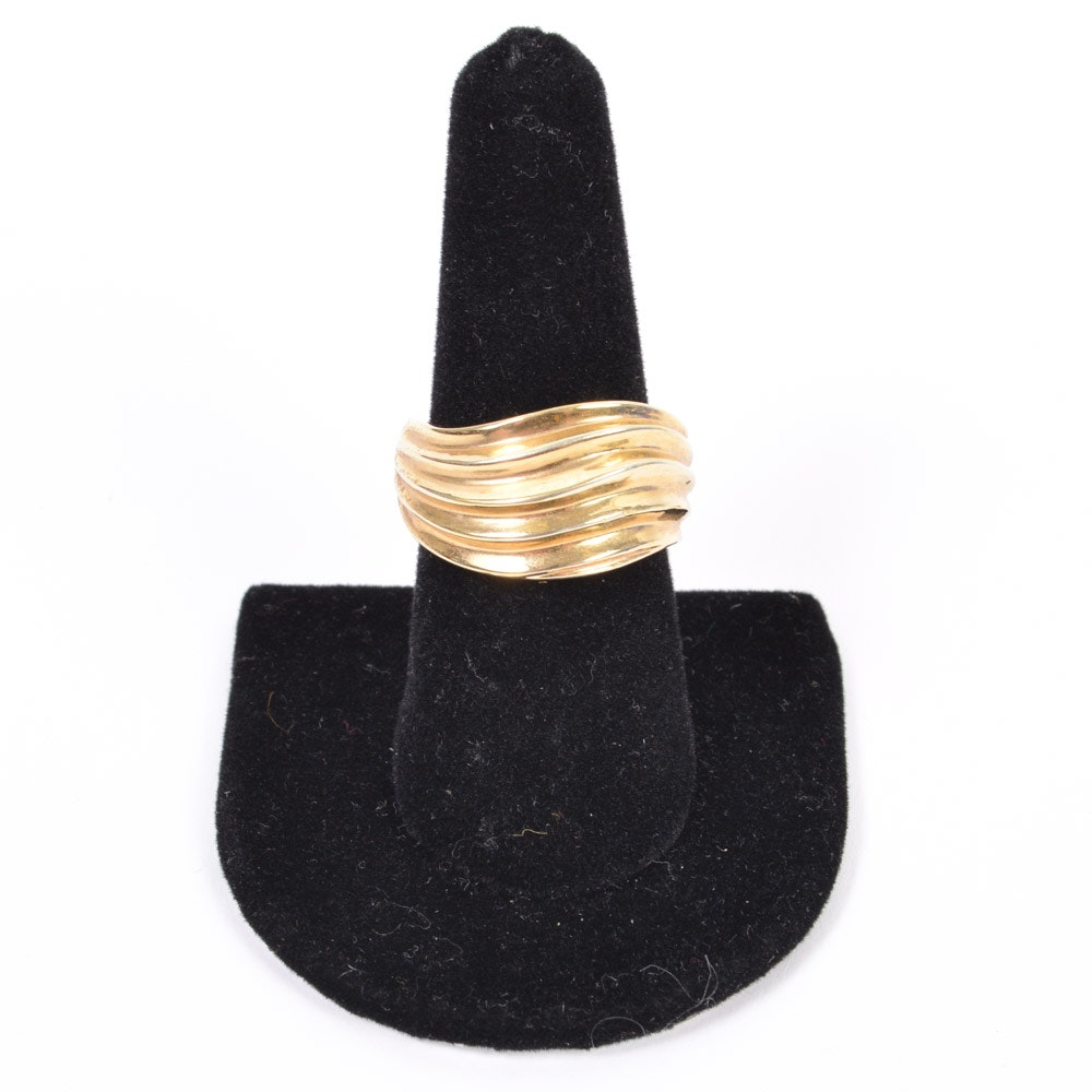18K Gold Hollow Wave Ring