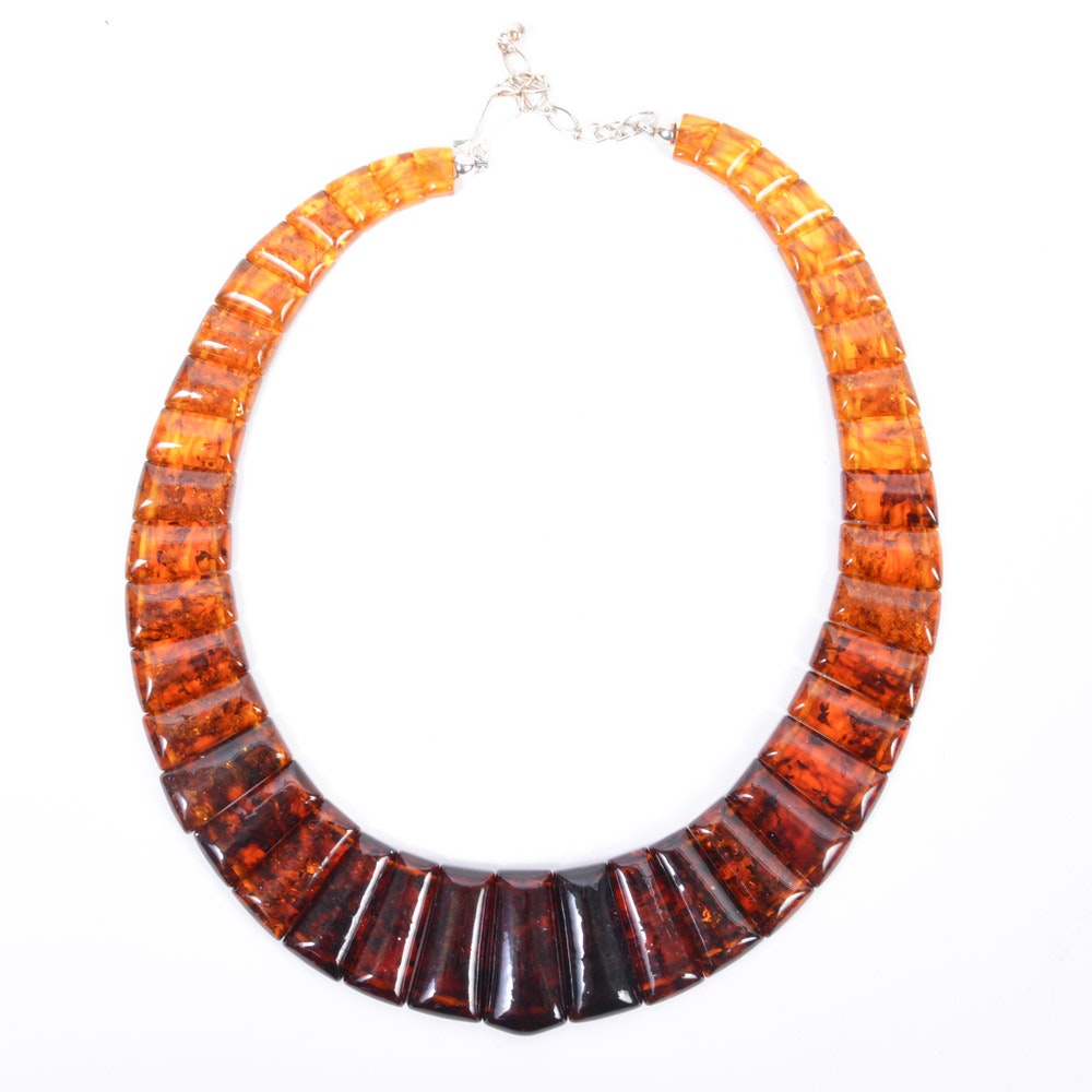 Pressed Amber Collier Necklace with Sterling Silver Clasp