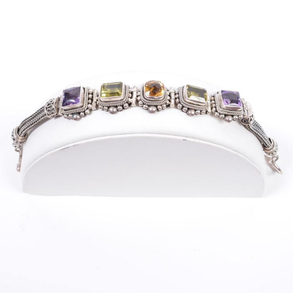 Sterling Silver Gemstone Bali Bracelet
