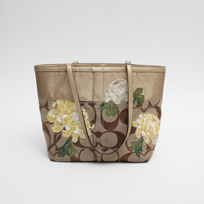 Coach Signature Stripe Floral Tote in Gold