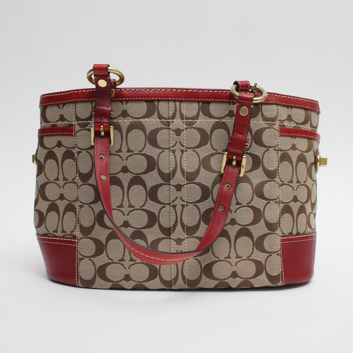 Coach Signature Gallery Tote with Red Trim