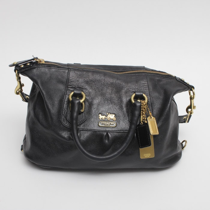 Coach Madison Sabrina Black Leather Handbag