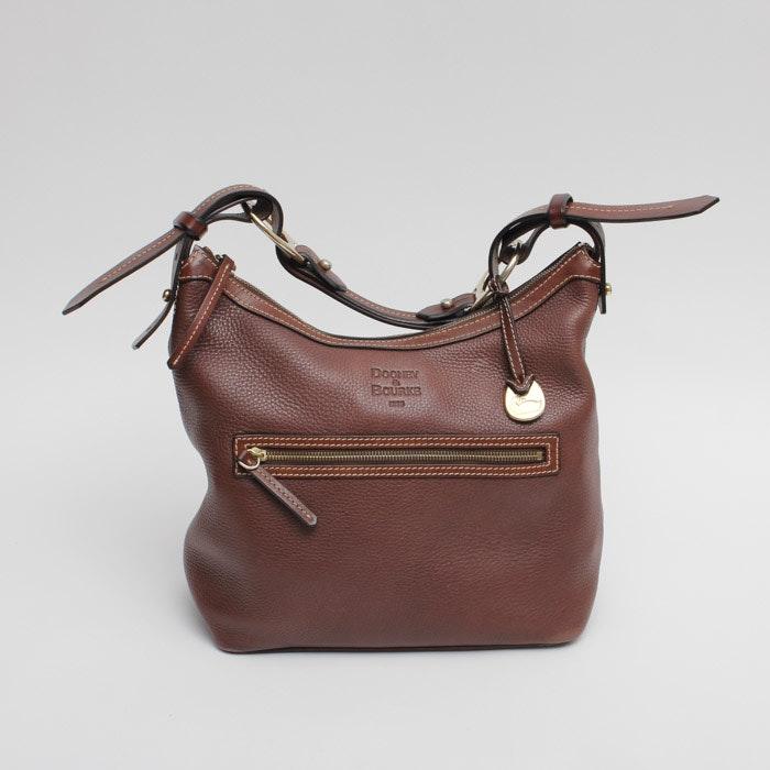 Dooney & Bourke Leather Hobo Shoulder Bag in Brown