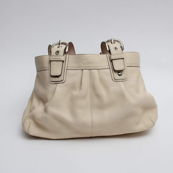 Coach Soho Pleated Leather Business Tote in Beige