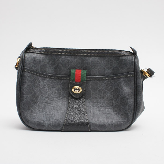 Gucci Vintage Black Monogram Shoulder Bag