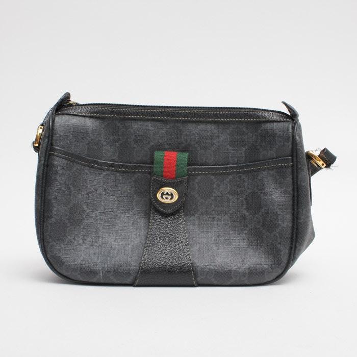 Gucci Vintage Black Monogram Shoulder Bag