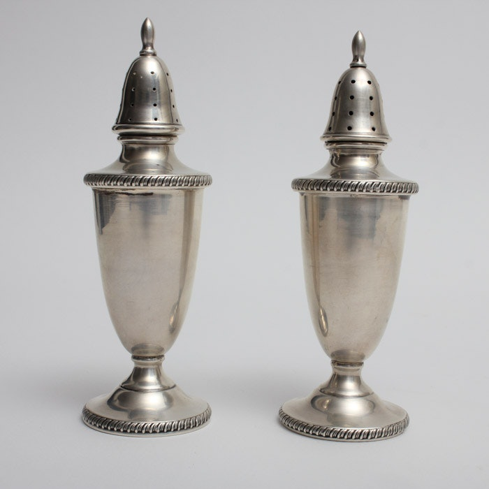 Hunt Silver Co. Sterling Silver Footed Salt and Pepper Shakers