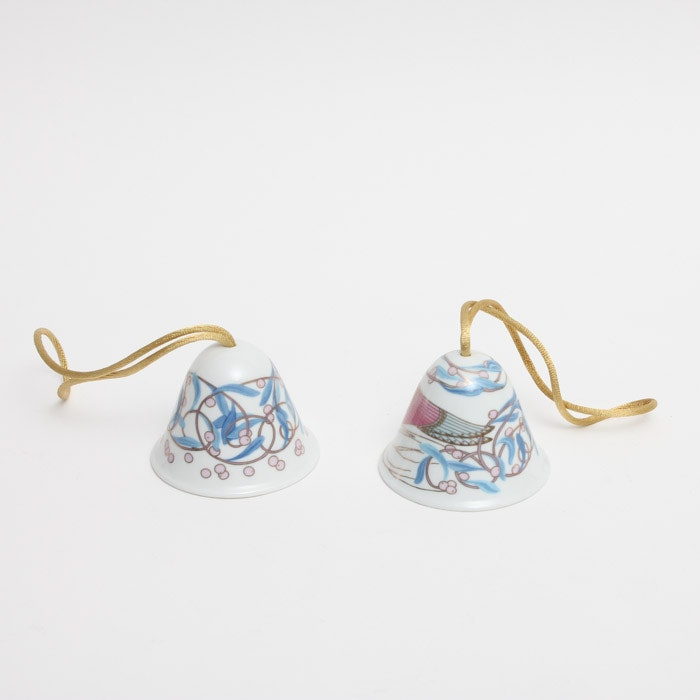 Pair of Lladró Porcelain Christmas Bell Ornaments