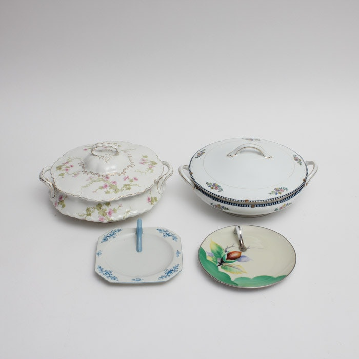 Noritake and Gosser Covered Vegetable Dishes and Lemon Servers