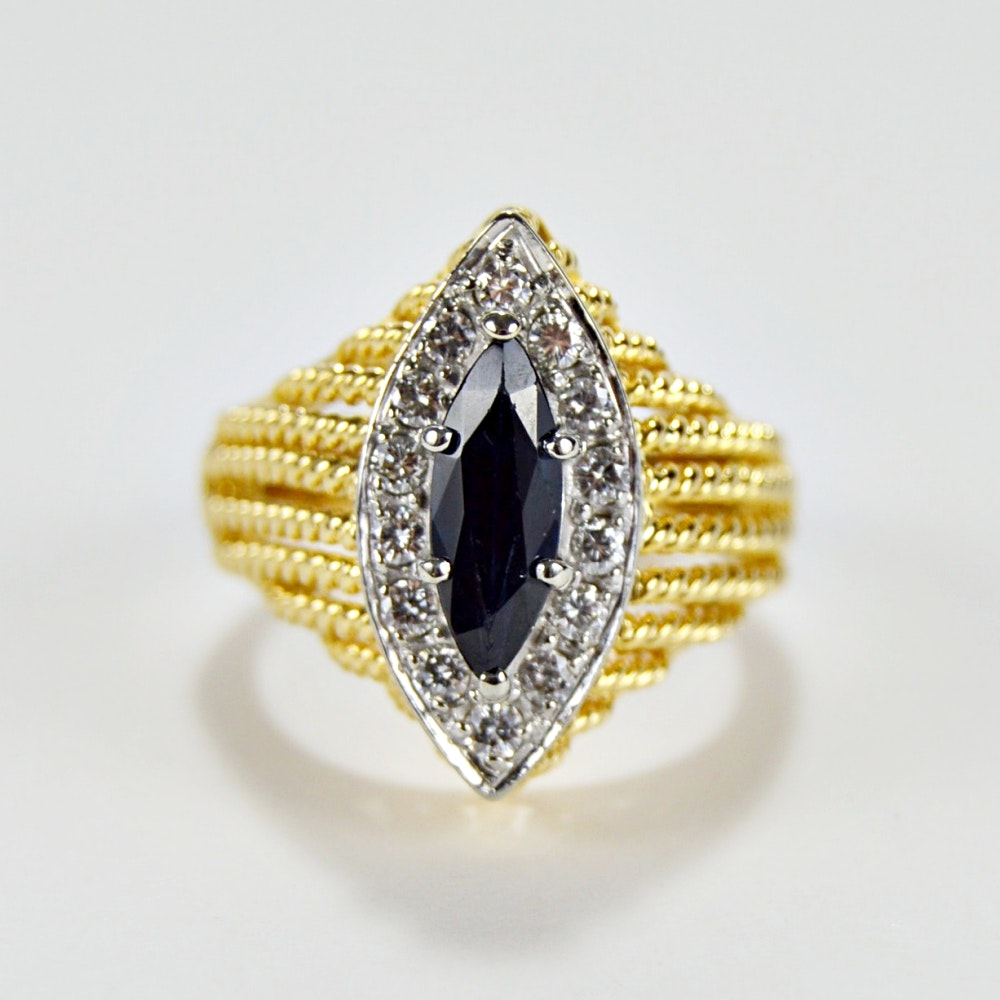 18K Yellow Gold Sapphire and Diamond Navette Ring