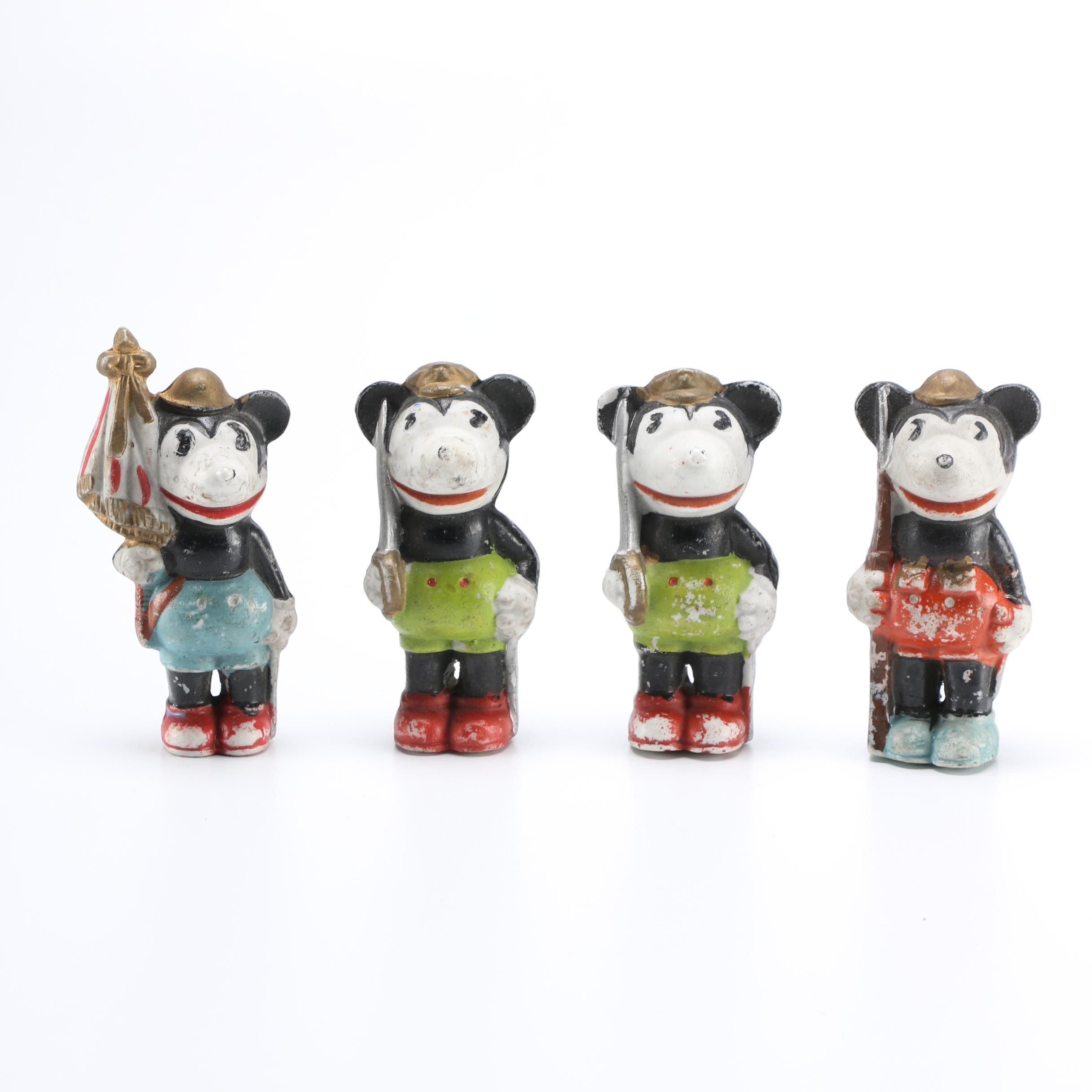 1930s Disney Mickey Mouse Soldier Bisque Figurines