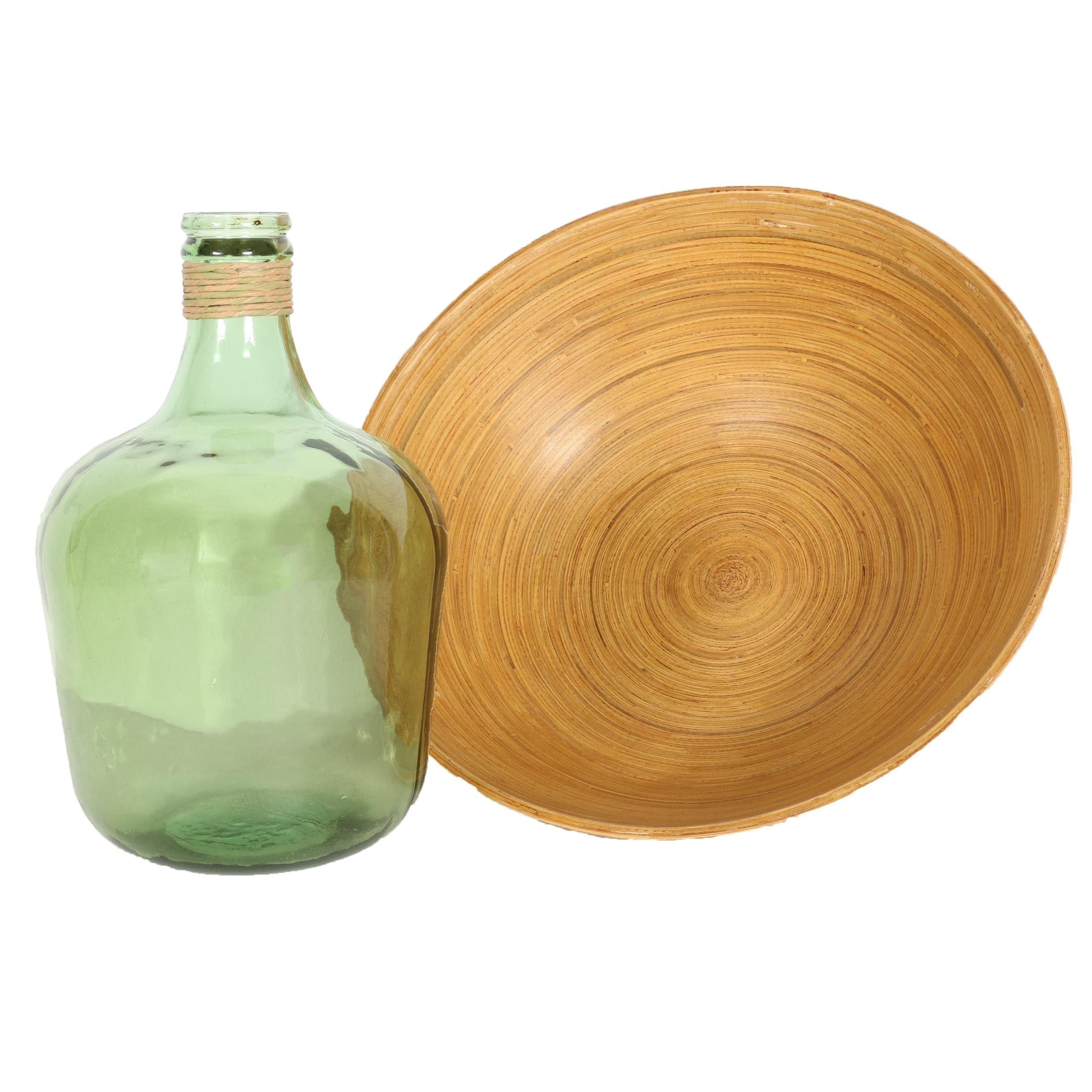 Glass IMAX Jug and Bamboo Bowl