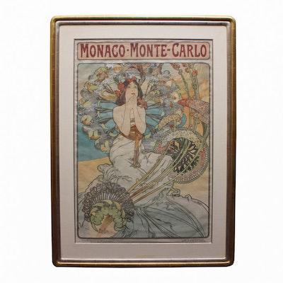 "Alphonse Mucha Lithograph Poster ""Monaco - Monte Carlo"""
