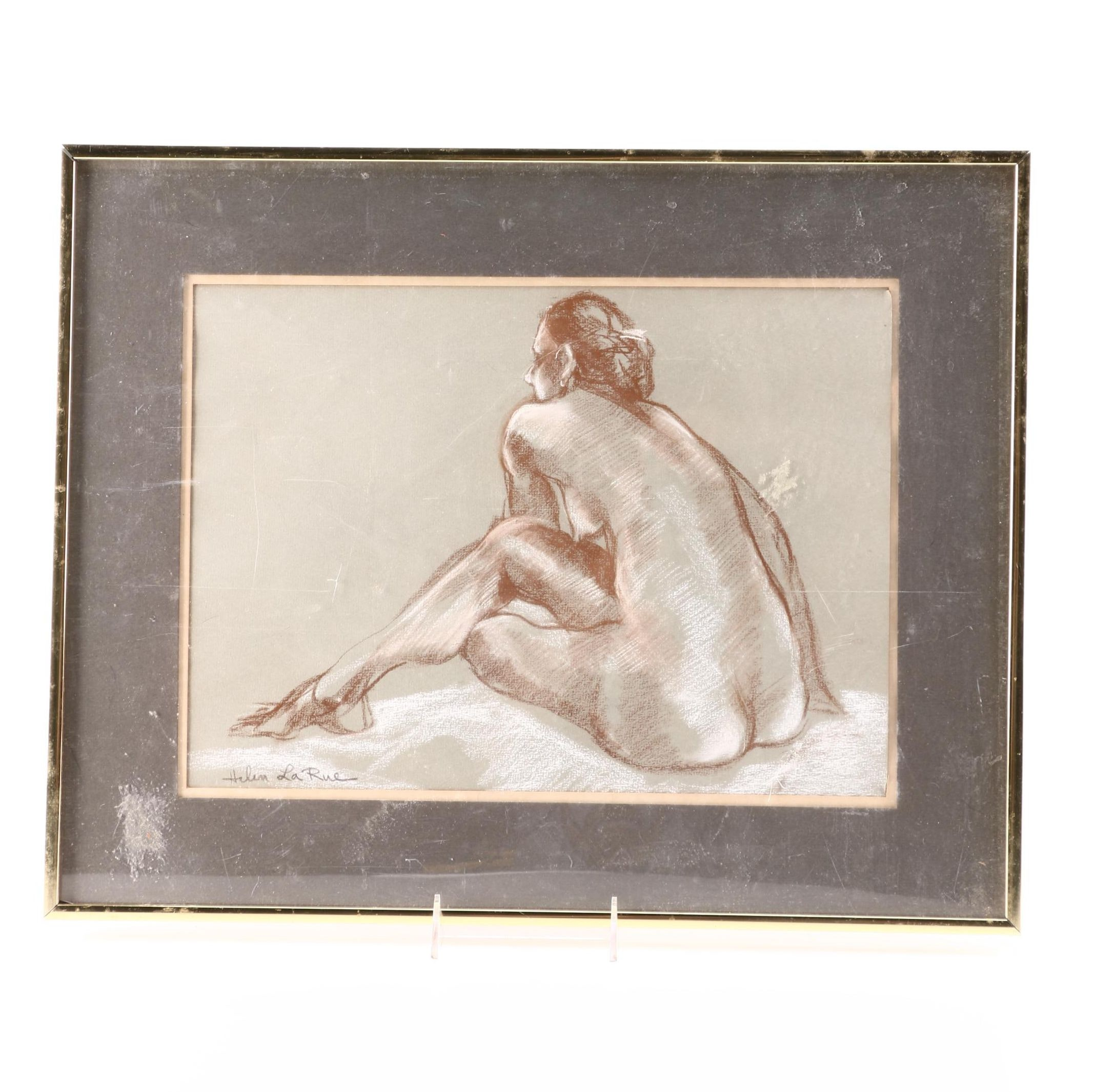 Signed Pastel Nude Drawing by Helen La Rue