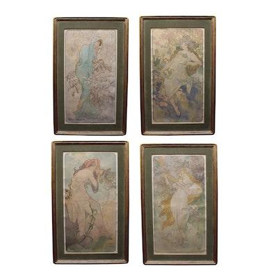 "Alphonse Mucha Lithograph Poster ""The Seasons"""