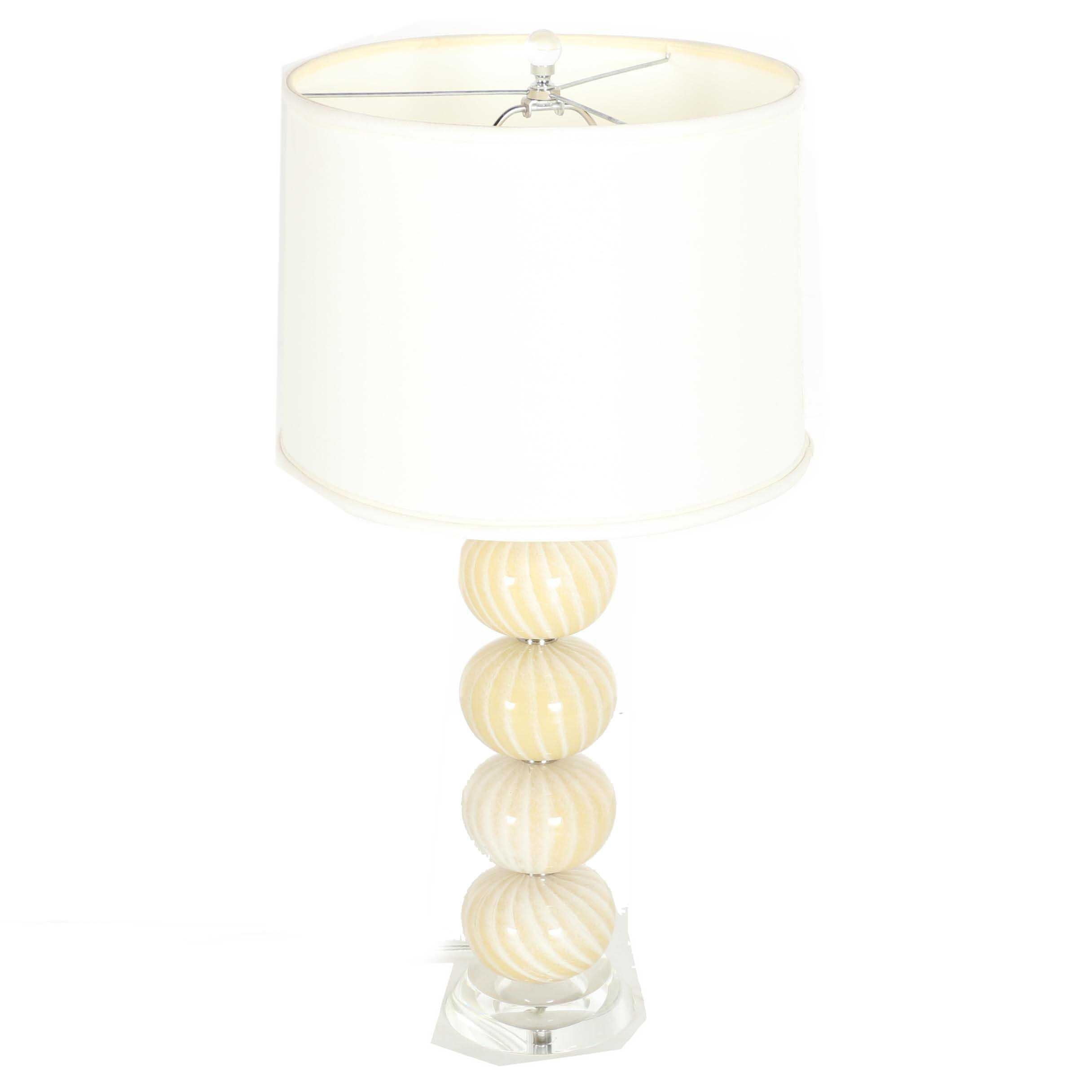 Stacked Glass Table Lamp With Shade