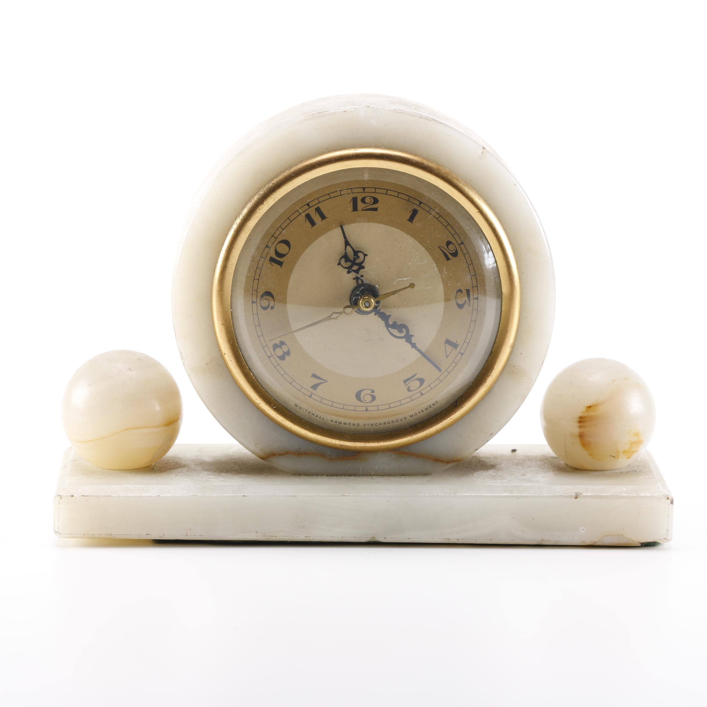 Art Deco Agate Mantel Clock