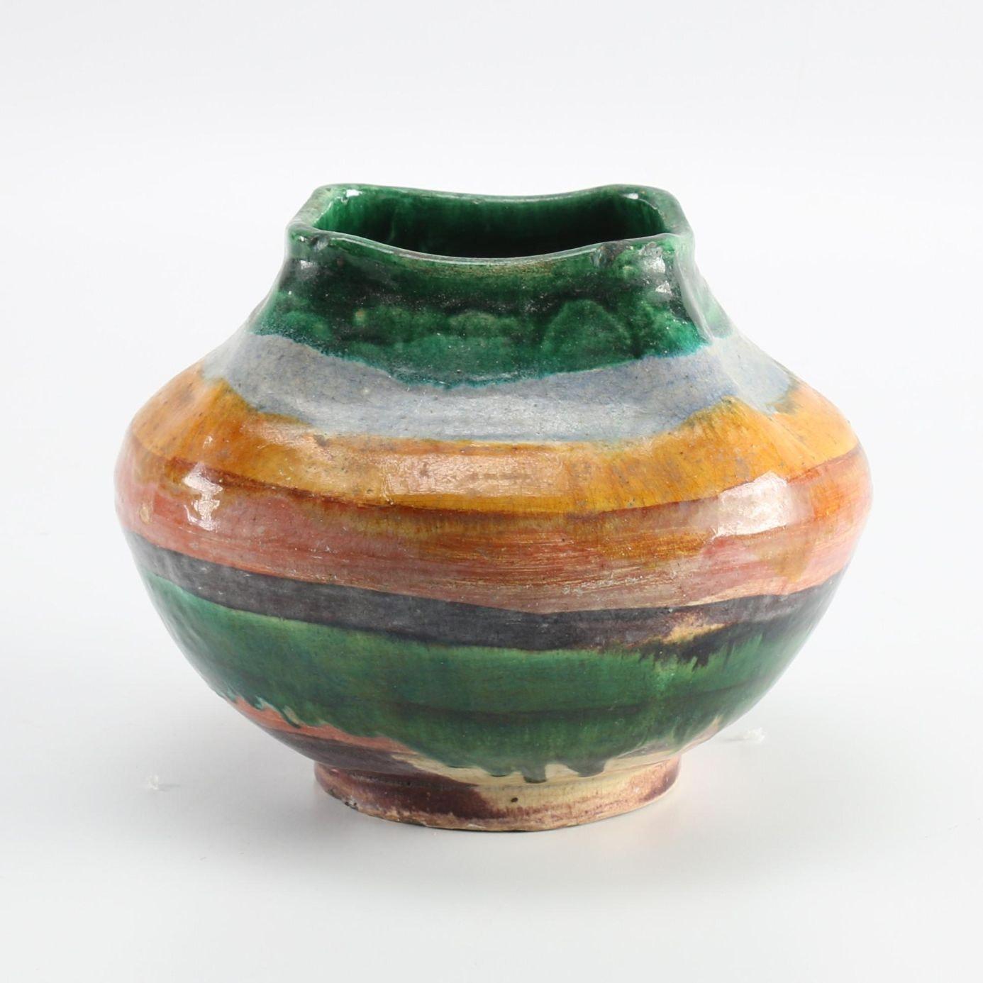 Stripe Glazed Pottery Vessel
