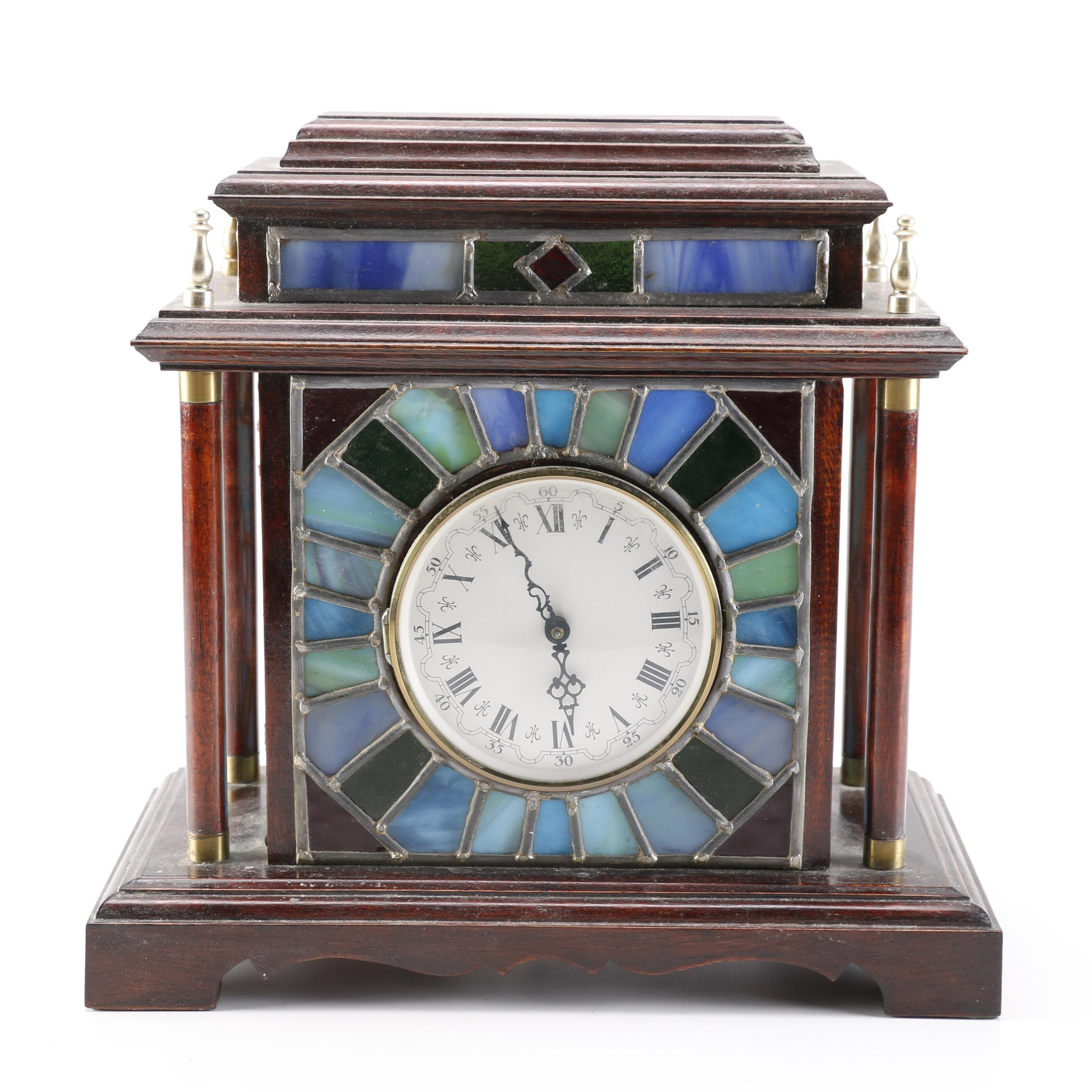 Stained Glass Electric Mantel Clock
