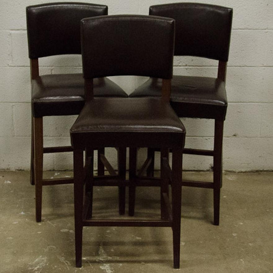 pier 1 dark brown italian leather bar stools ebth. Black Bedroom Furniture Sets. Home Design Ideas