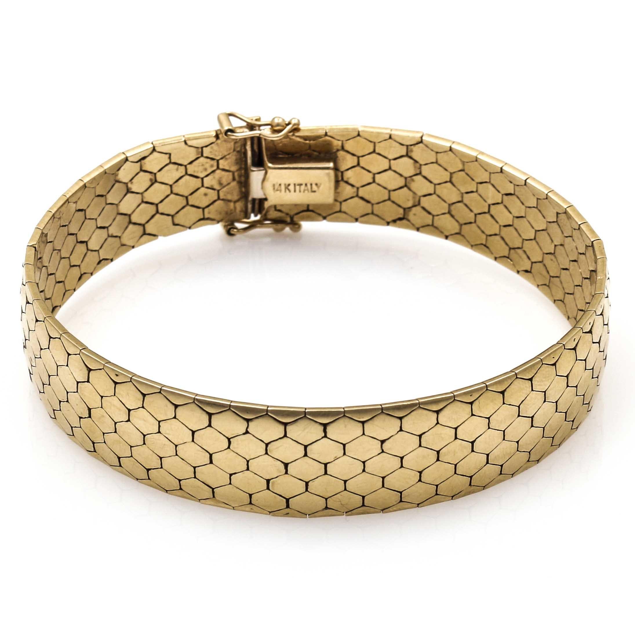 14K Yellow Gold Honeycomb Link Bracelet