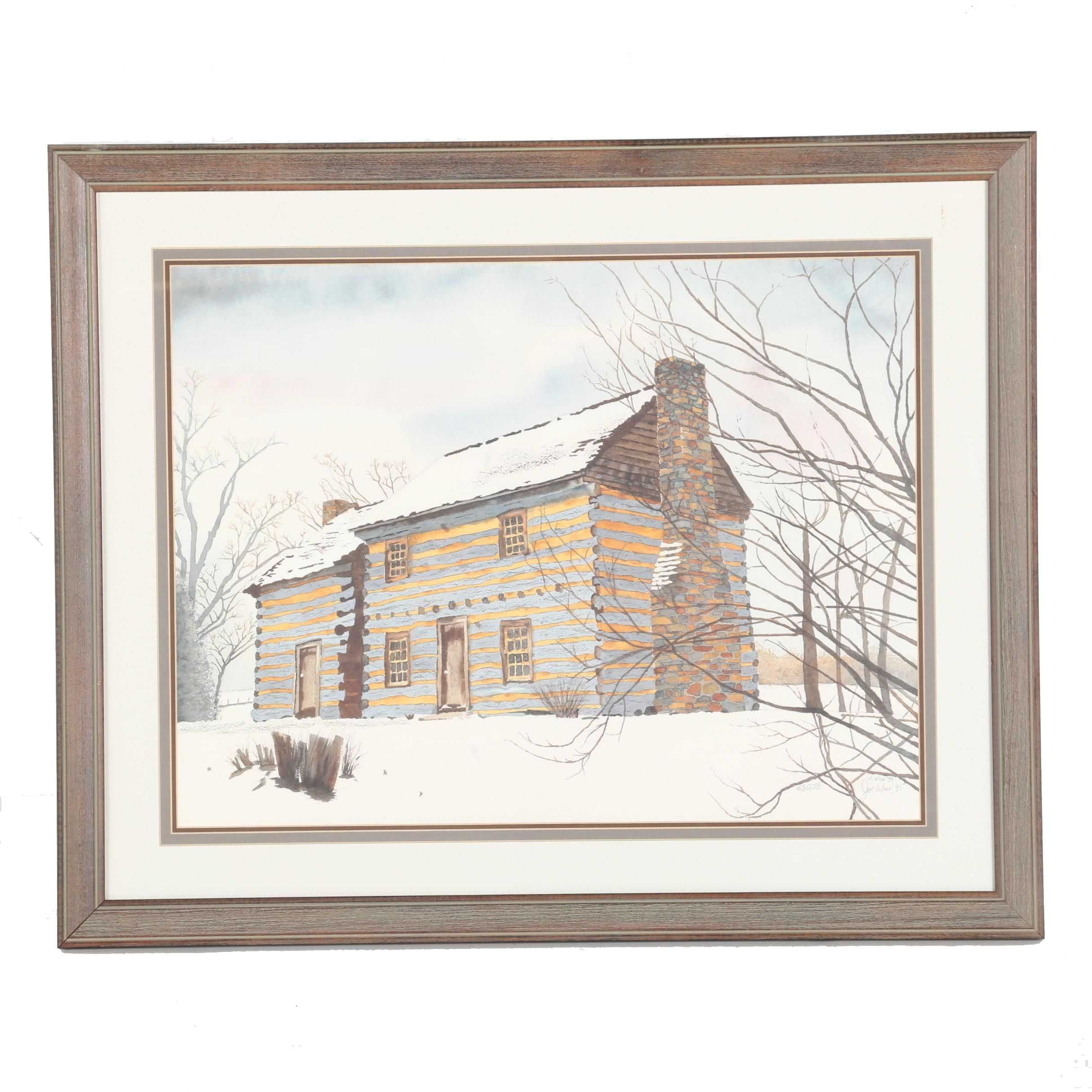 Joe Wise Limited Edition Offset Lithograph of Cabin